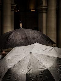 gray scale of two gray umbrellas