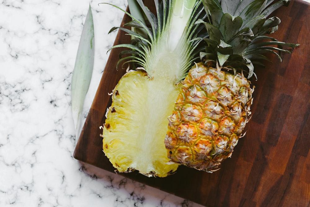 sliced in half pineapple