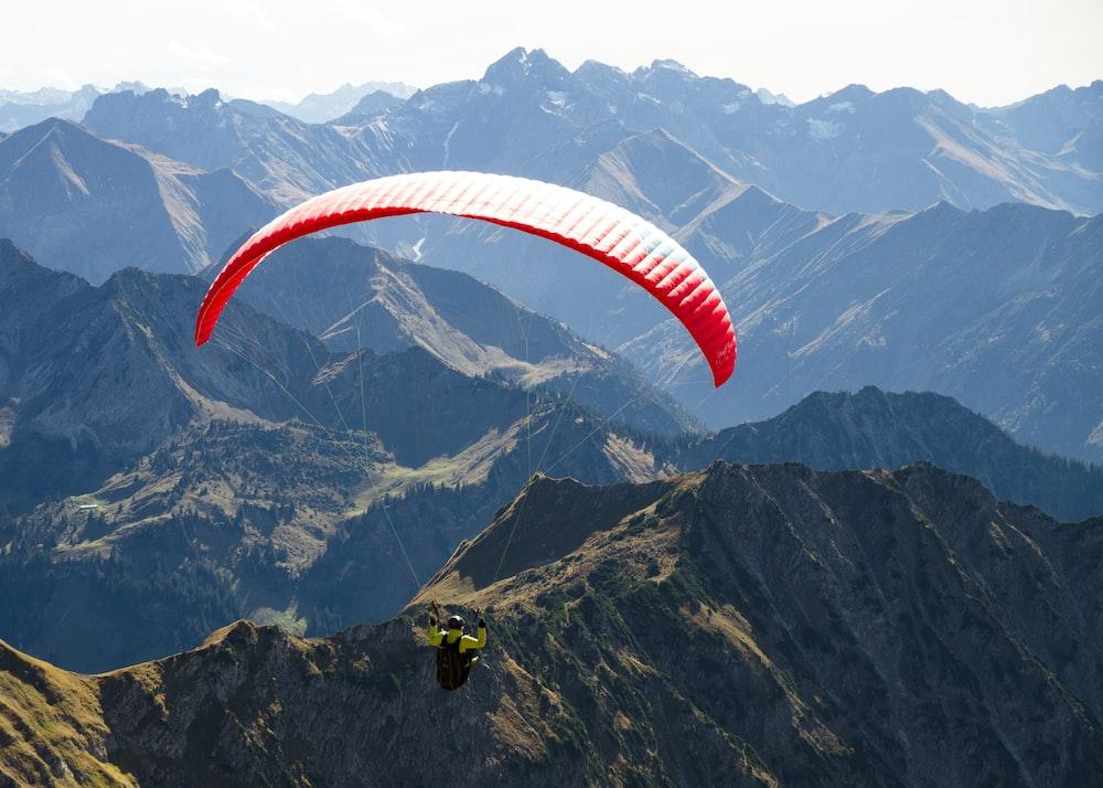parachuting man