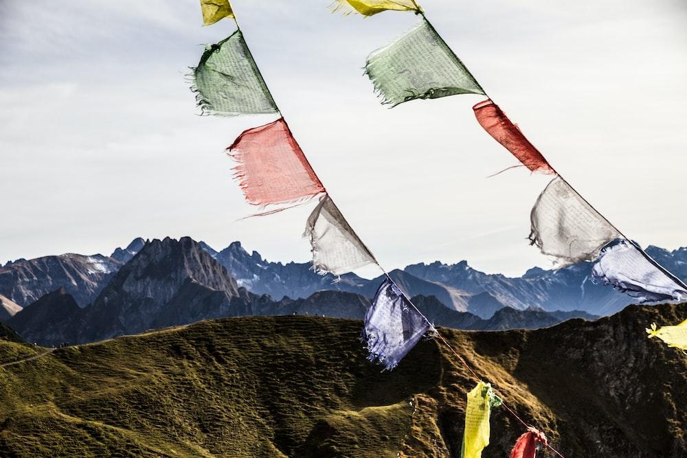 hanging textiles over hills