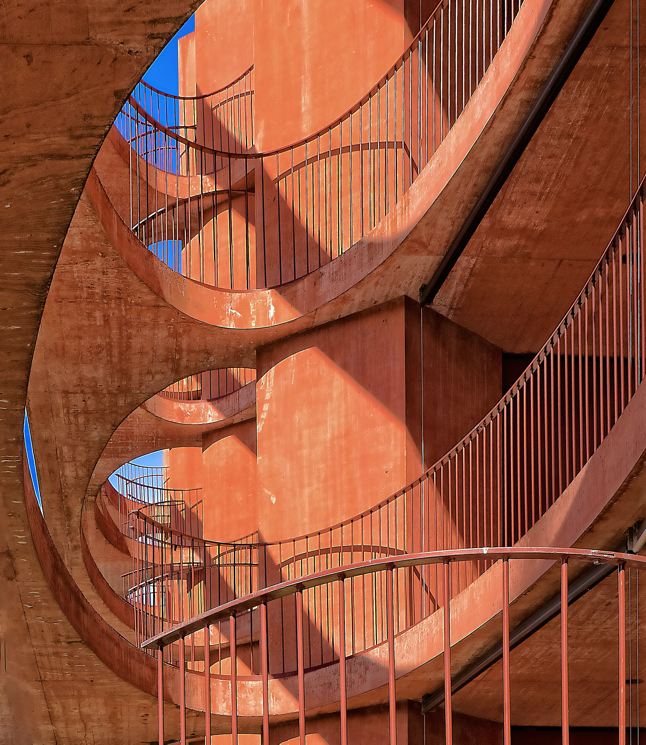 low angle photography of orange concrete building