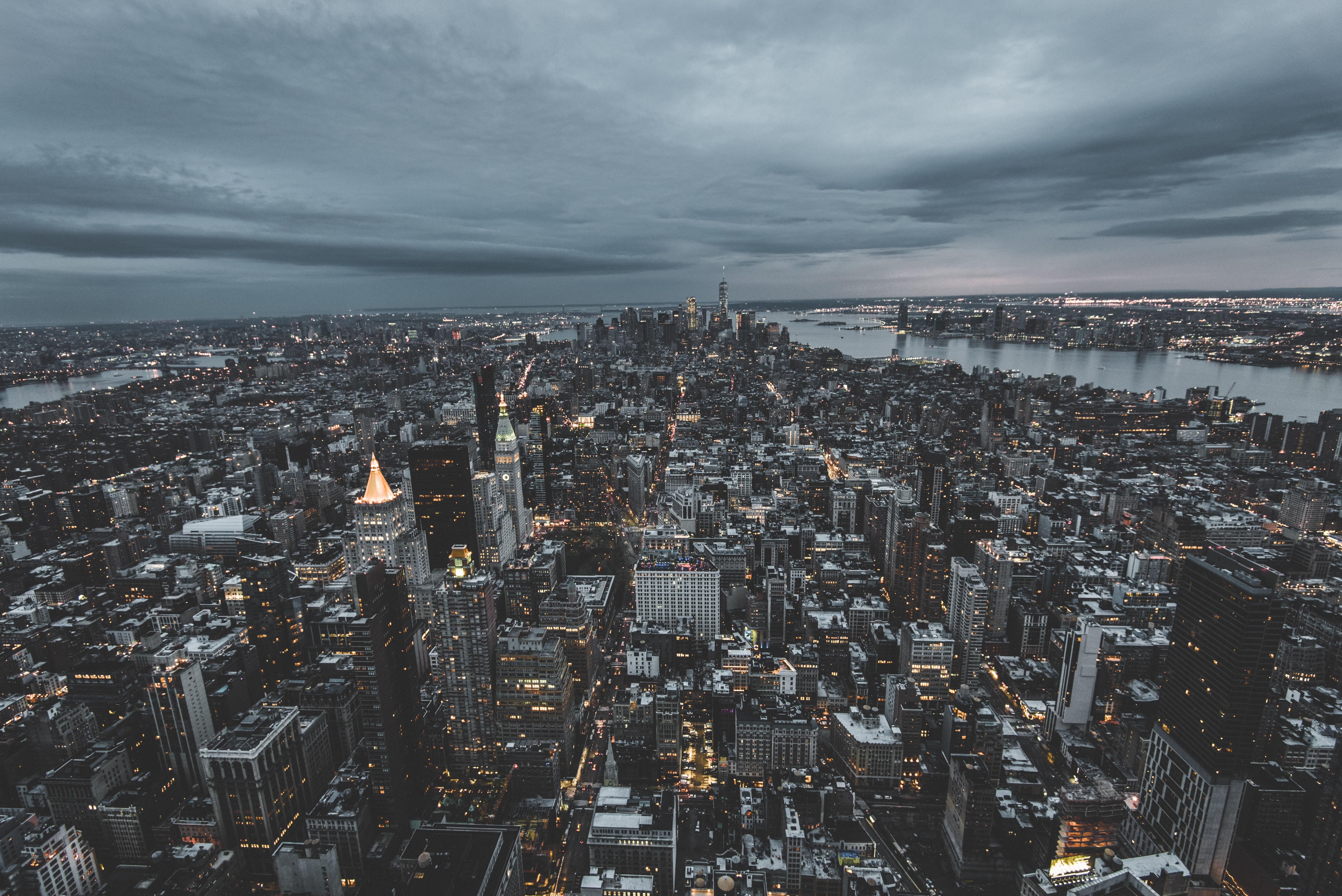 The vast skyline of New York under gray clouds
