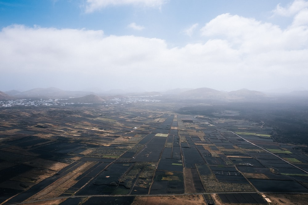 aerial view of rice field under clouded sky