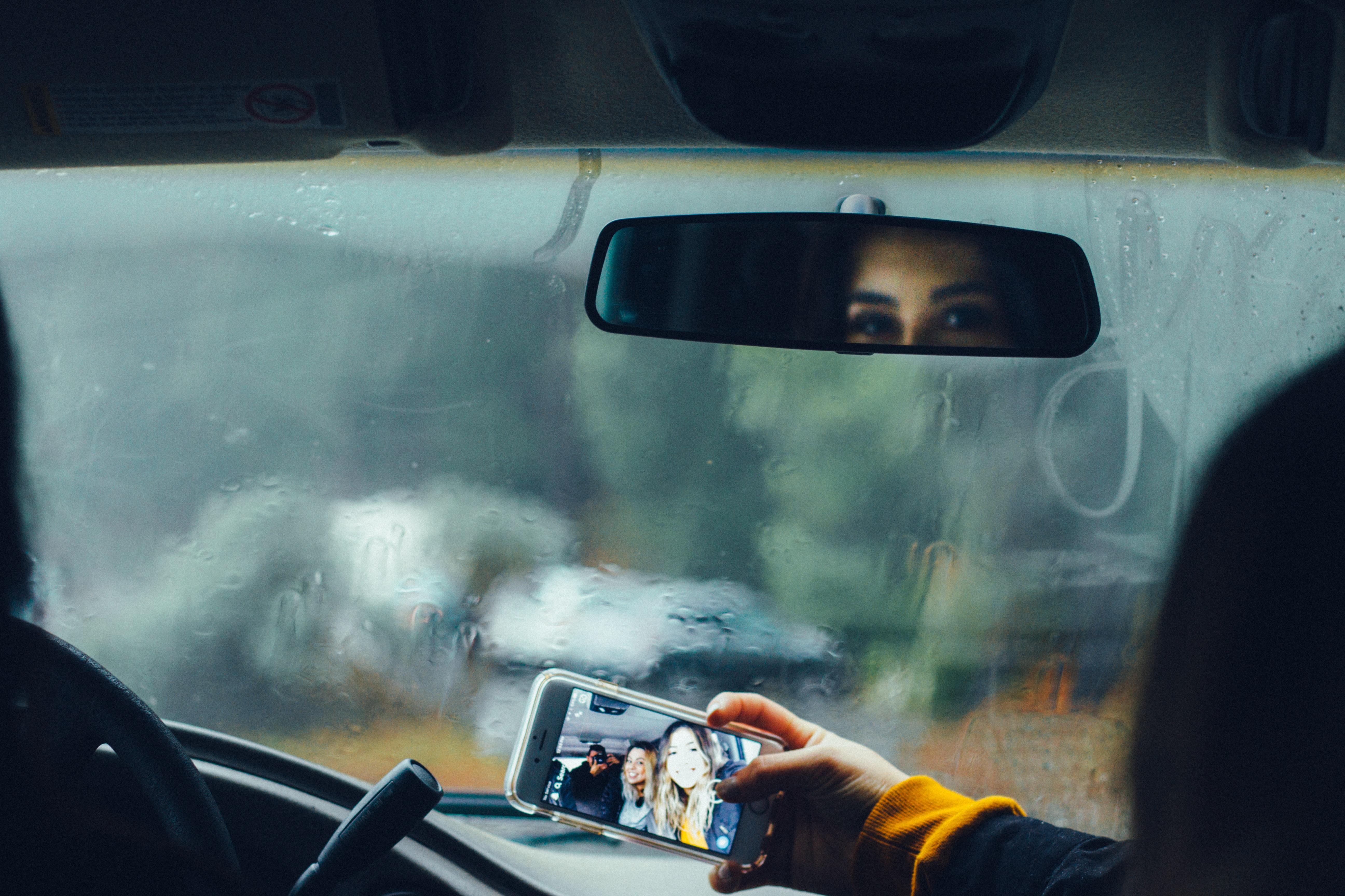 person walking photo inside vehicle