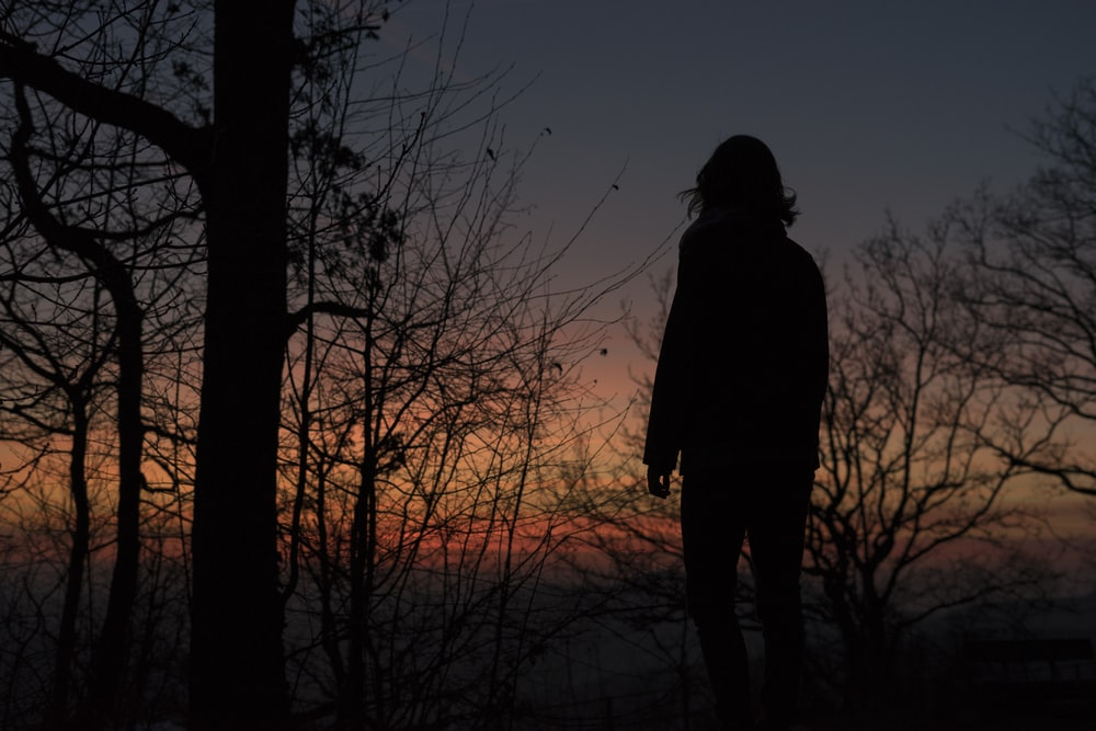 silhouette photo of a woman on sunset