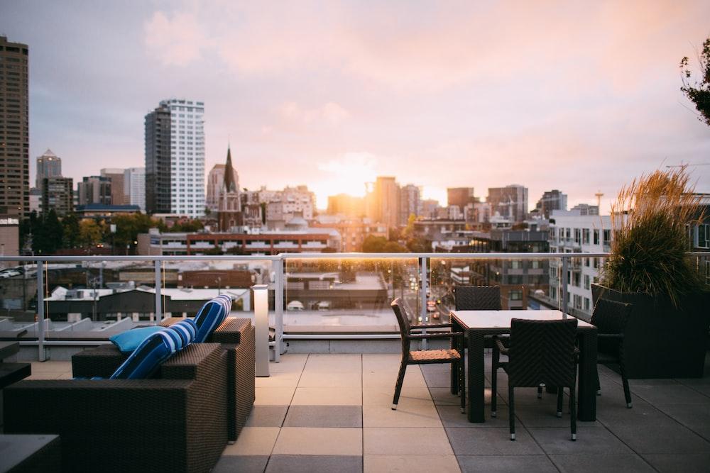 patio set in terrace overlooking city