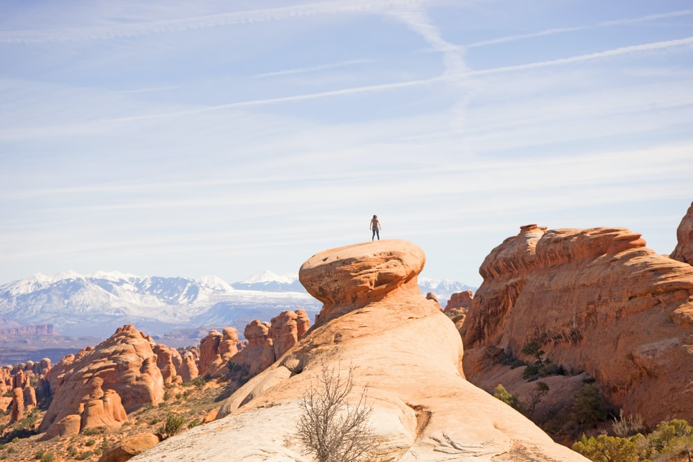 person on top of canyon