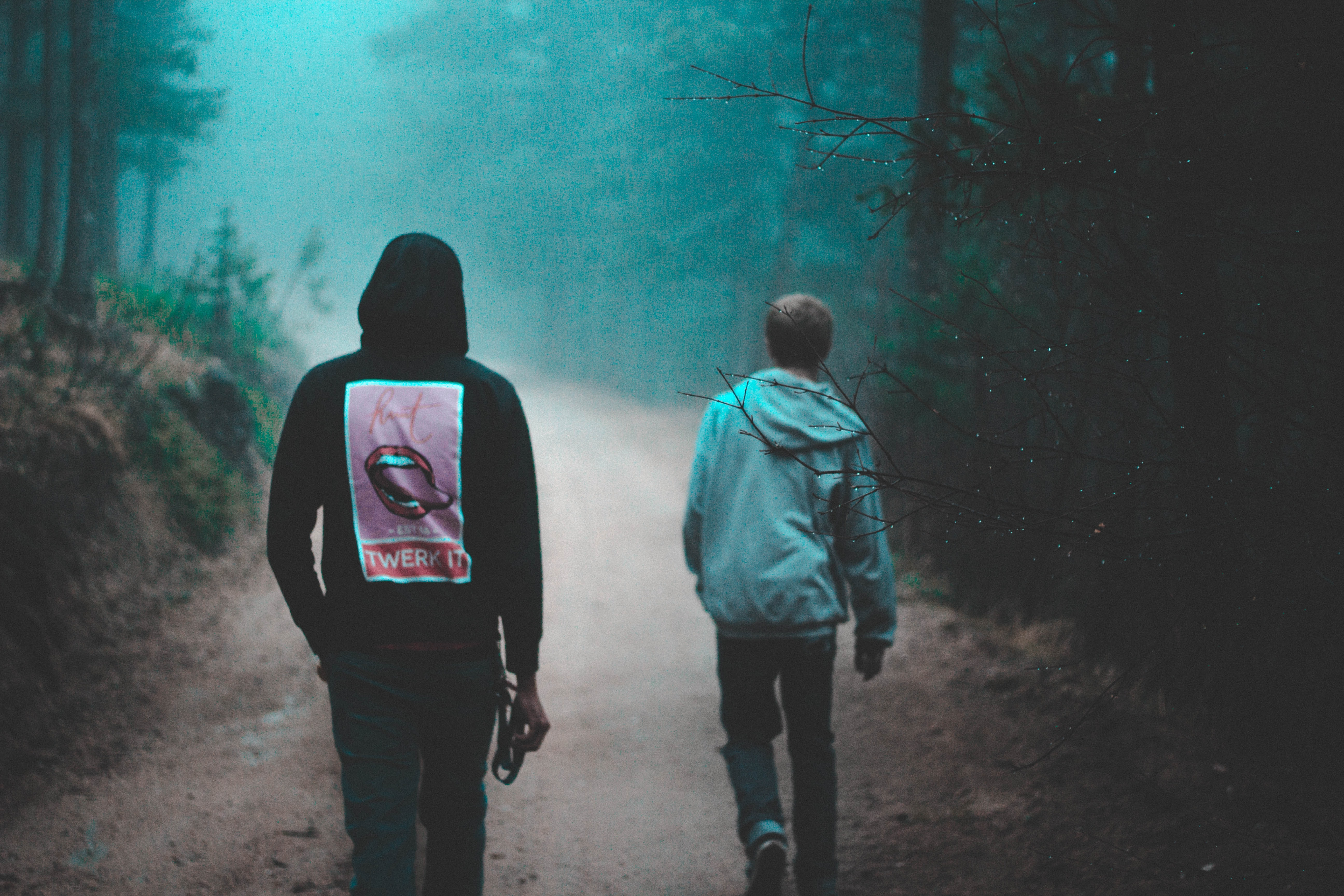 two person walking on dirt road between green trees