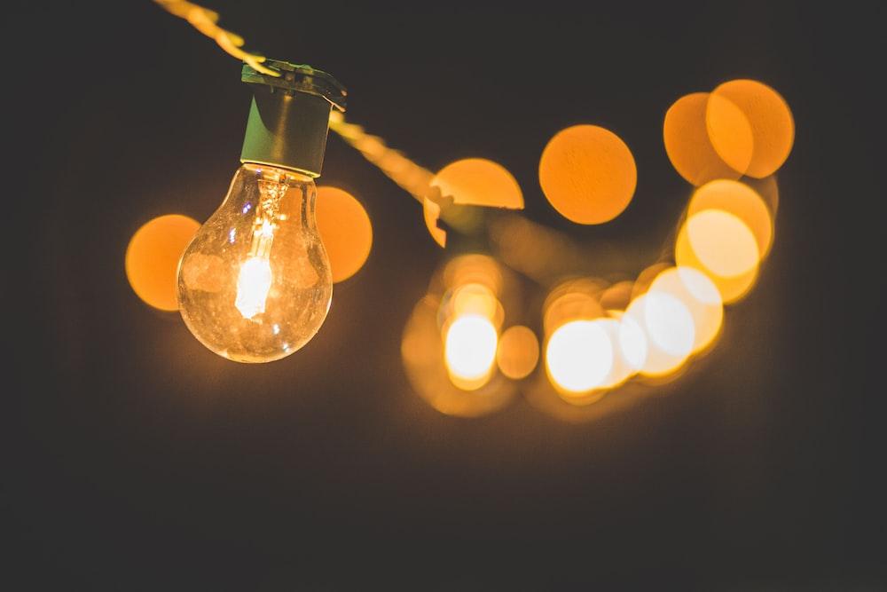 shallow focus of string light