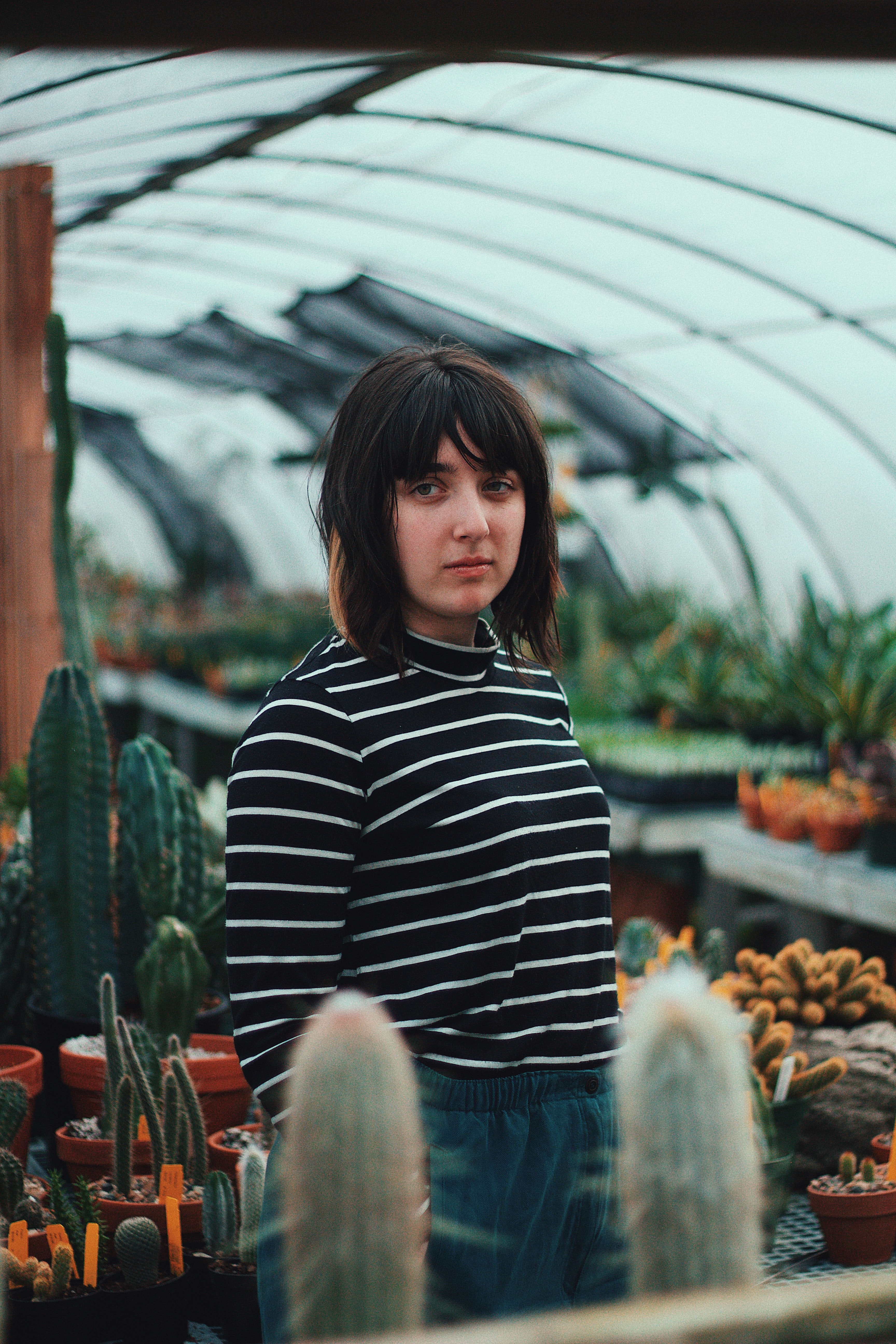 Serious woman standing alone in a greenhouse with succulents
