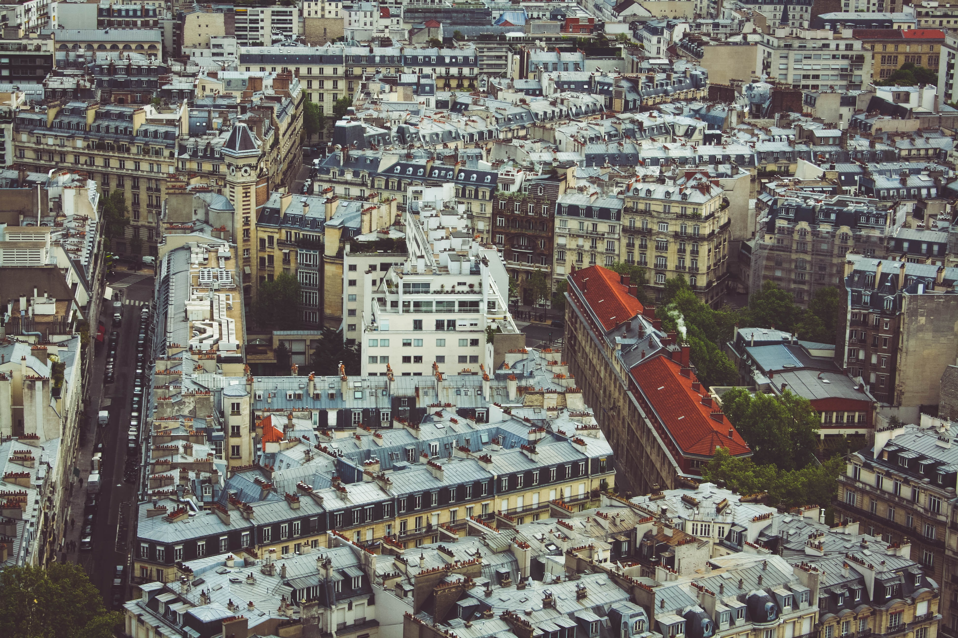 A high shot of busy Paris streets and buildings