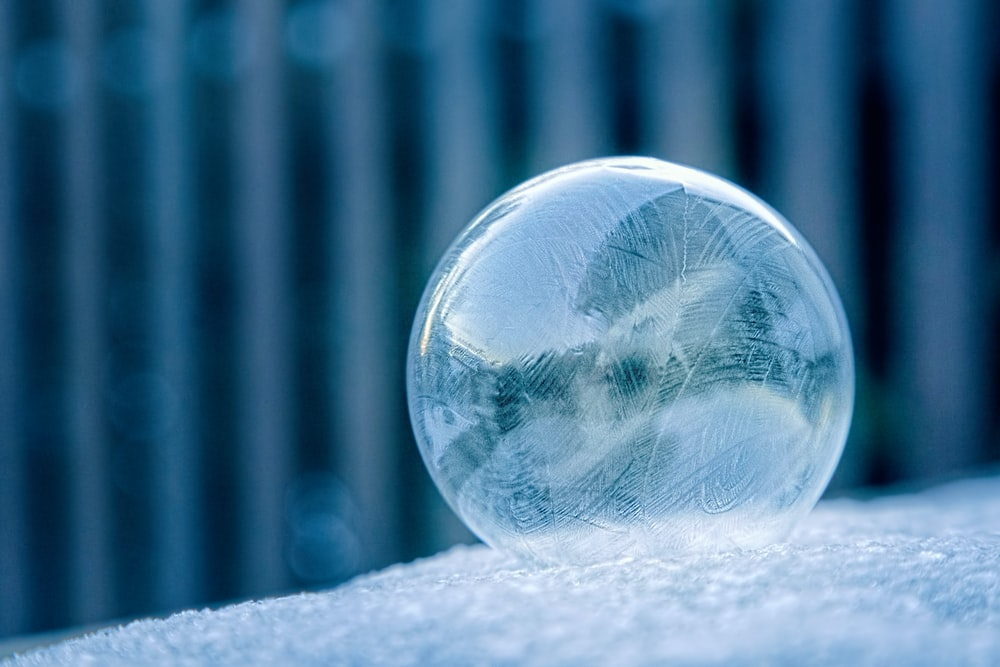 photo of clear glass ball