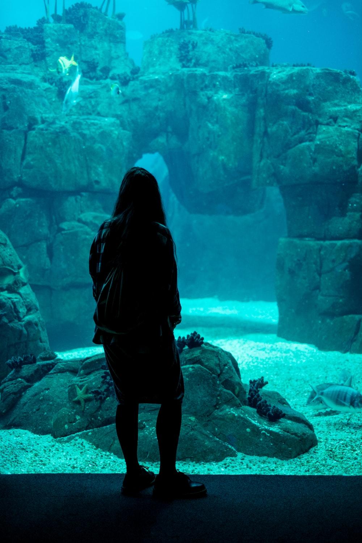 woman standing near aquarium