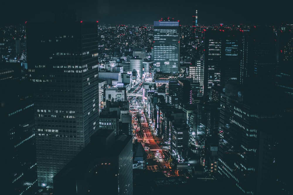 aerial photography of city skyline during night time