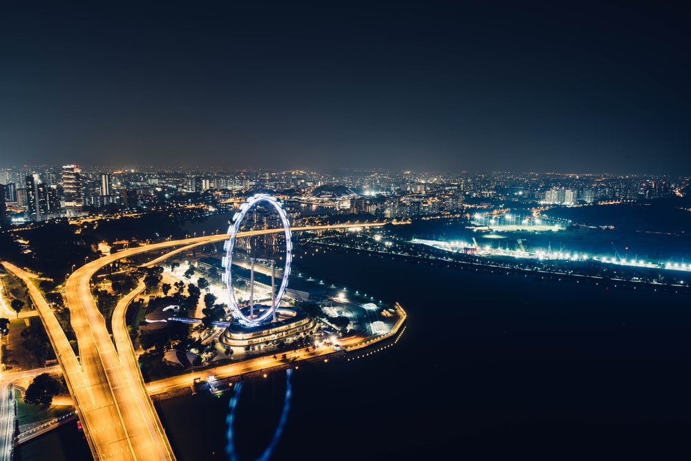 aerial photography of London Eye at nighttime
