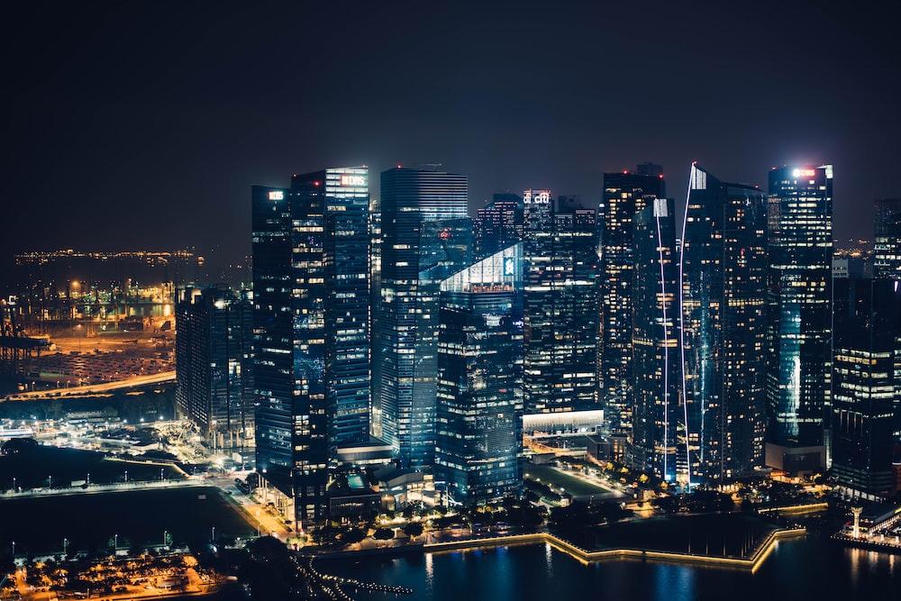 landscape photography of city skyline at night