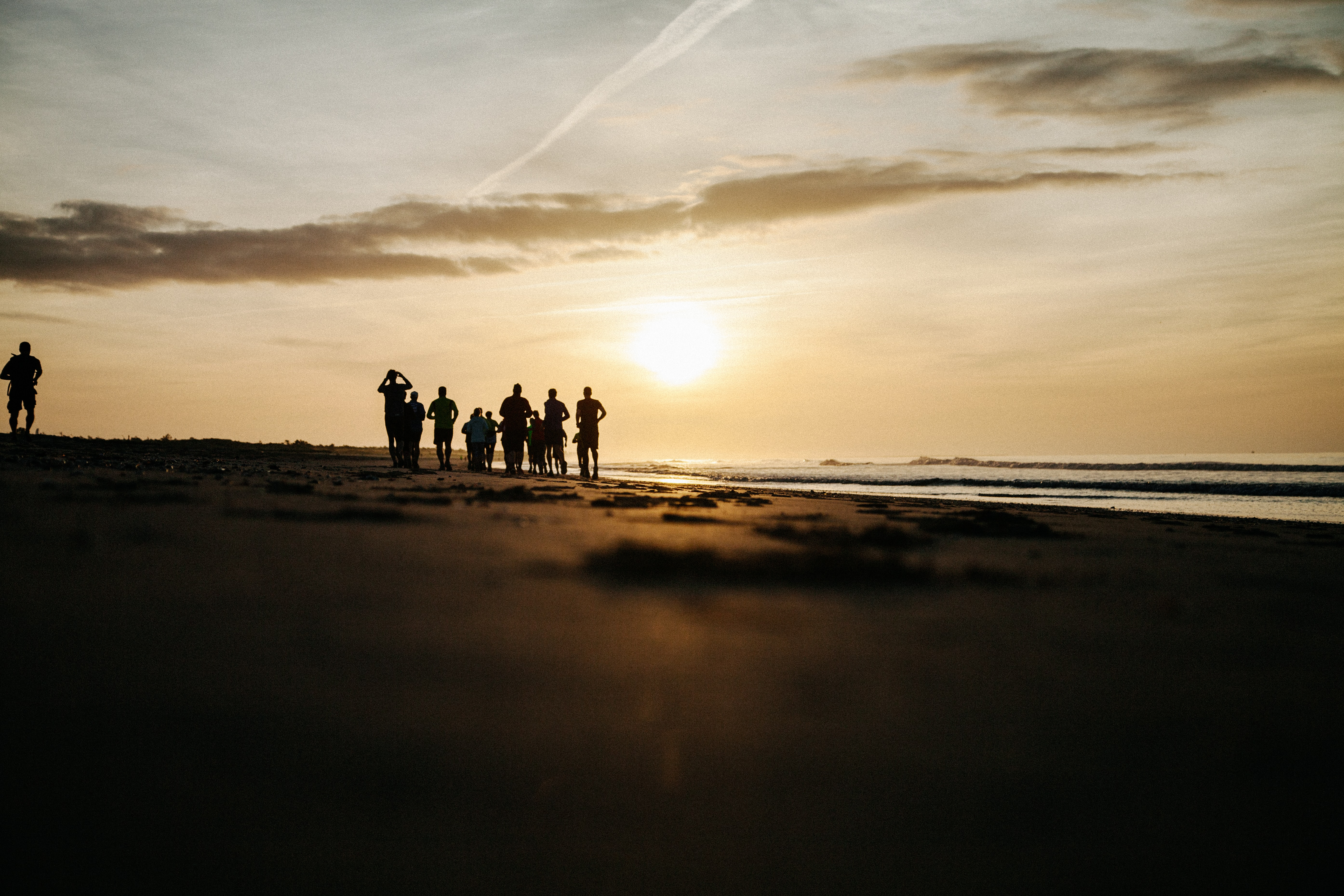 silhouette of people at seashore