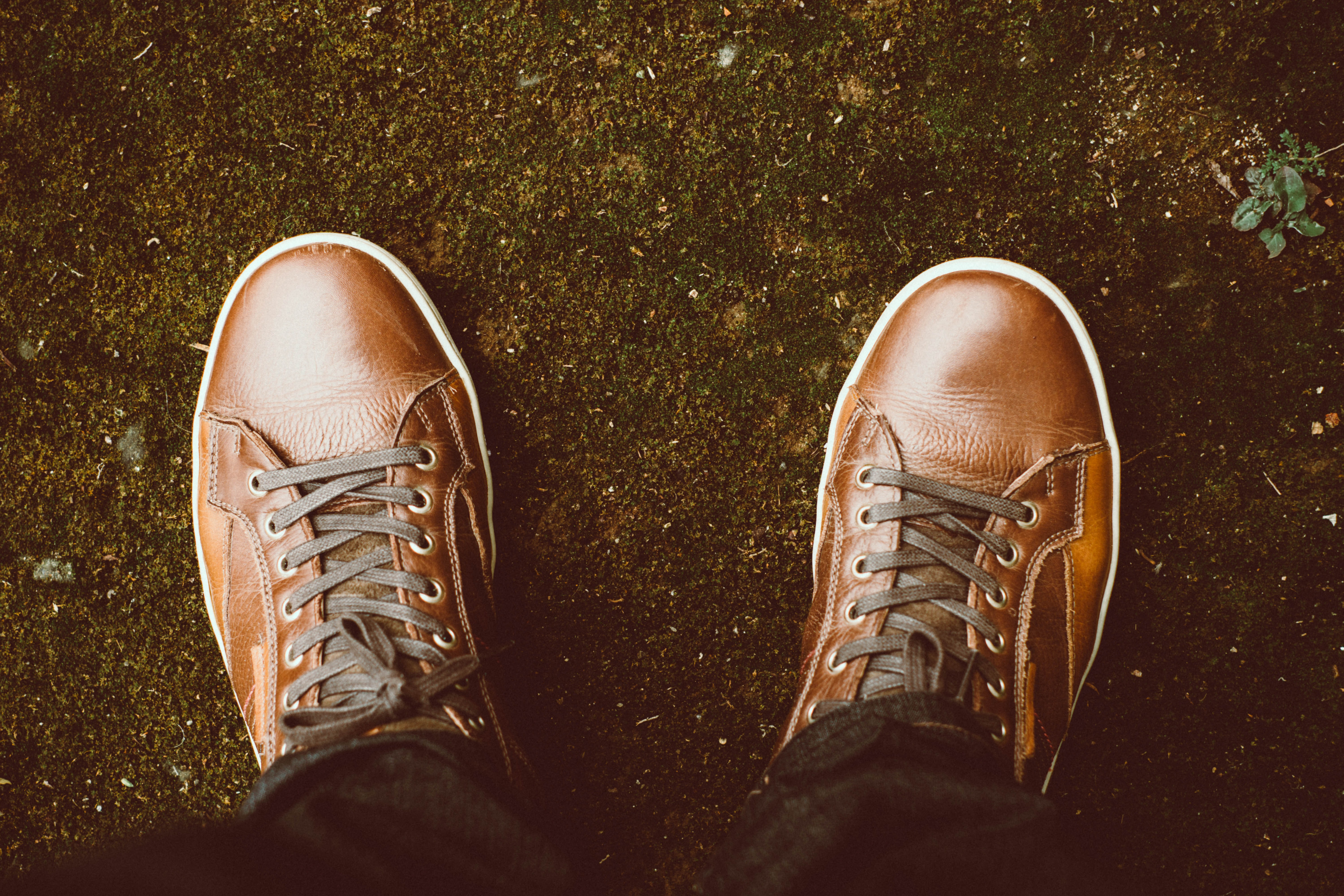 View from a man looking down at his brown shoes with laces