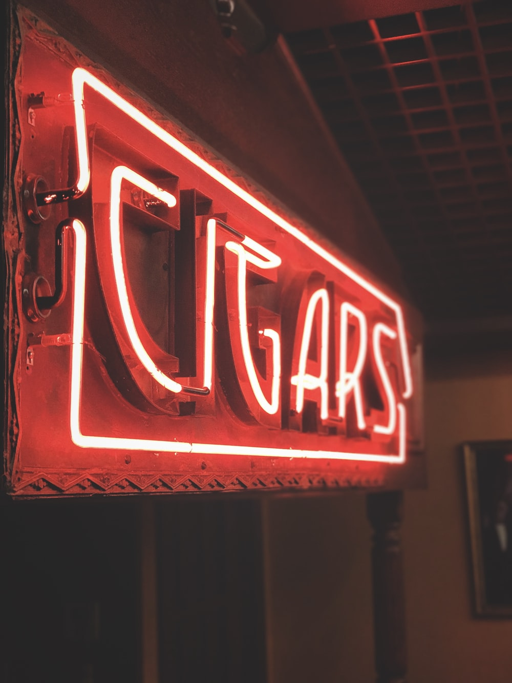red Cigars neon signage hanging decor