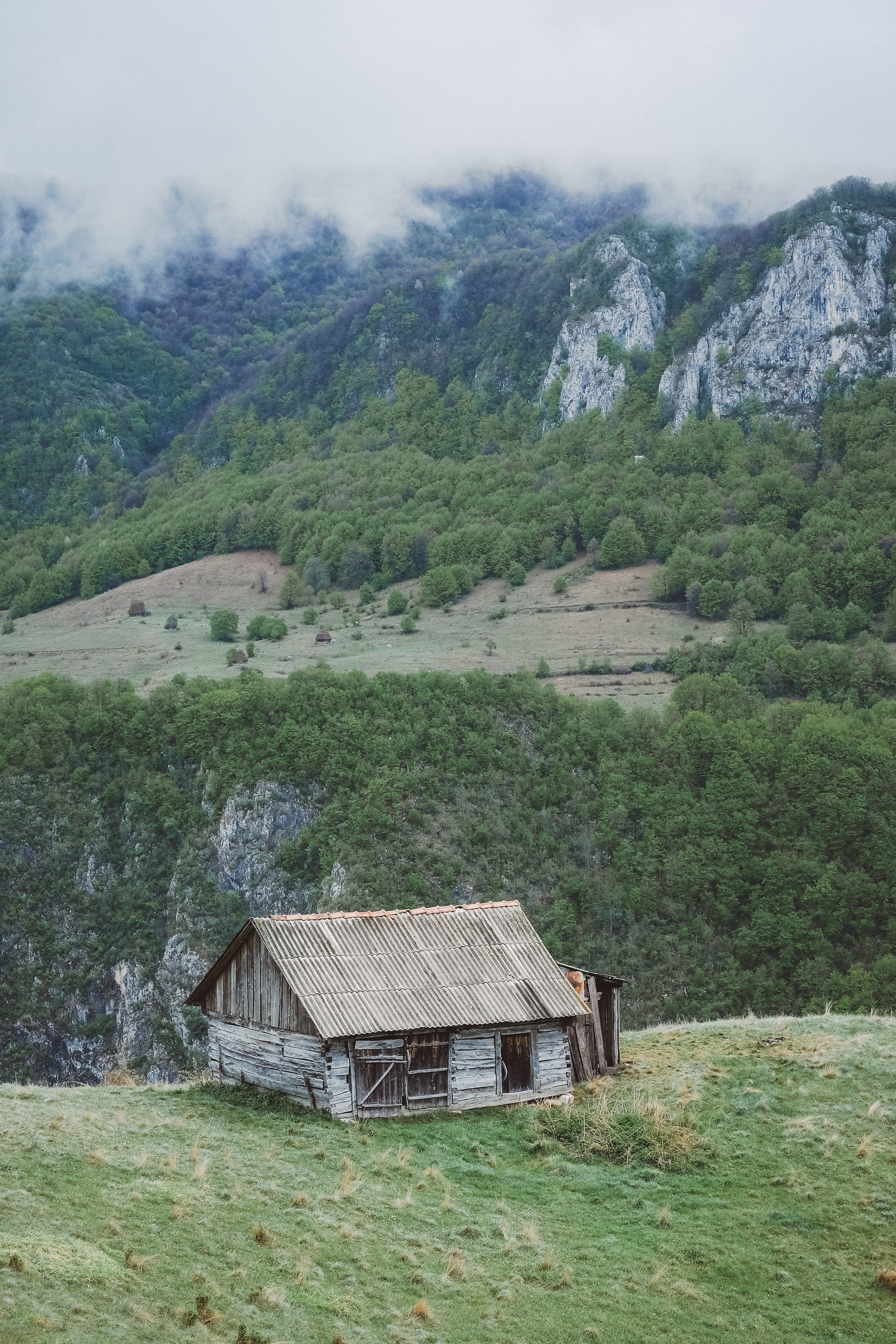 gray wooden house on mountain