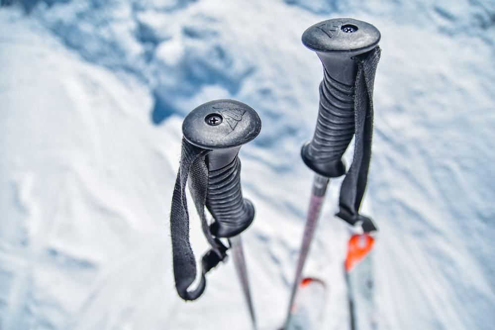 snow ski sticks on snow