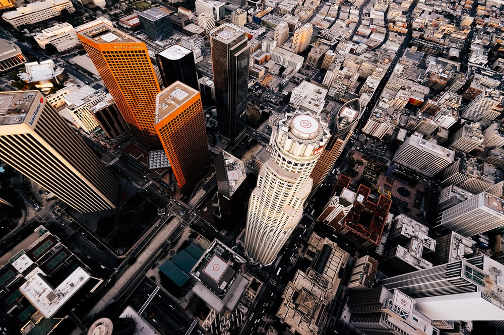 aerial photo of tall buildings