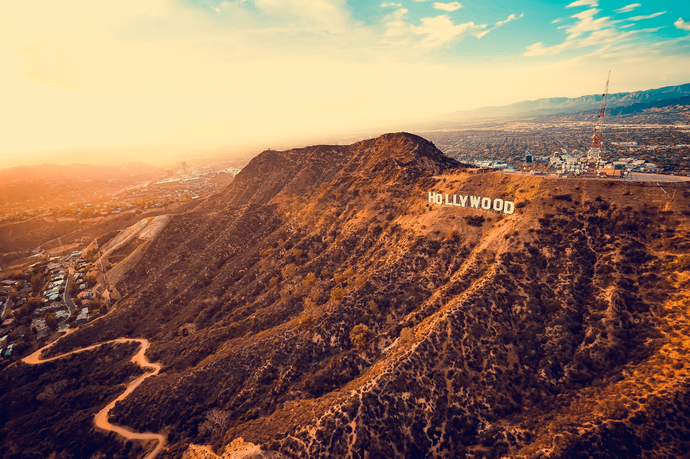 aerial photography of Hollywood signage on mountain