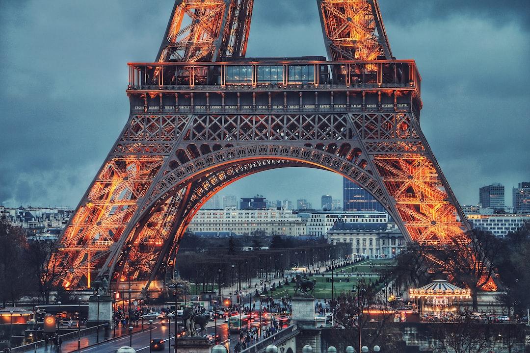 Eiffel tower during nighttime in Trocadéro Gardens France