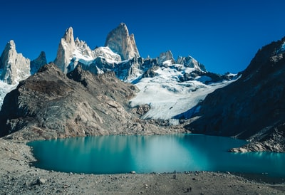 snow covered mountain beside body of water patagonia zoom background