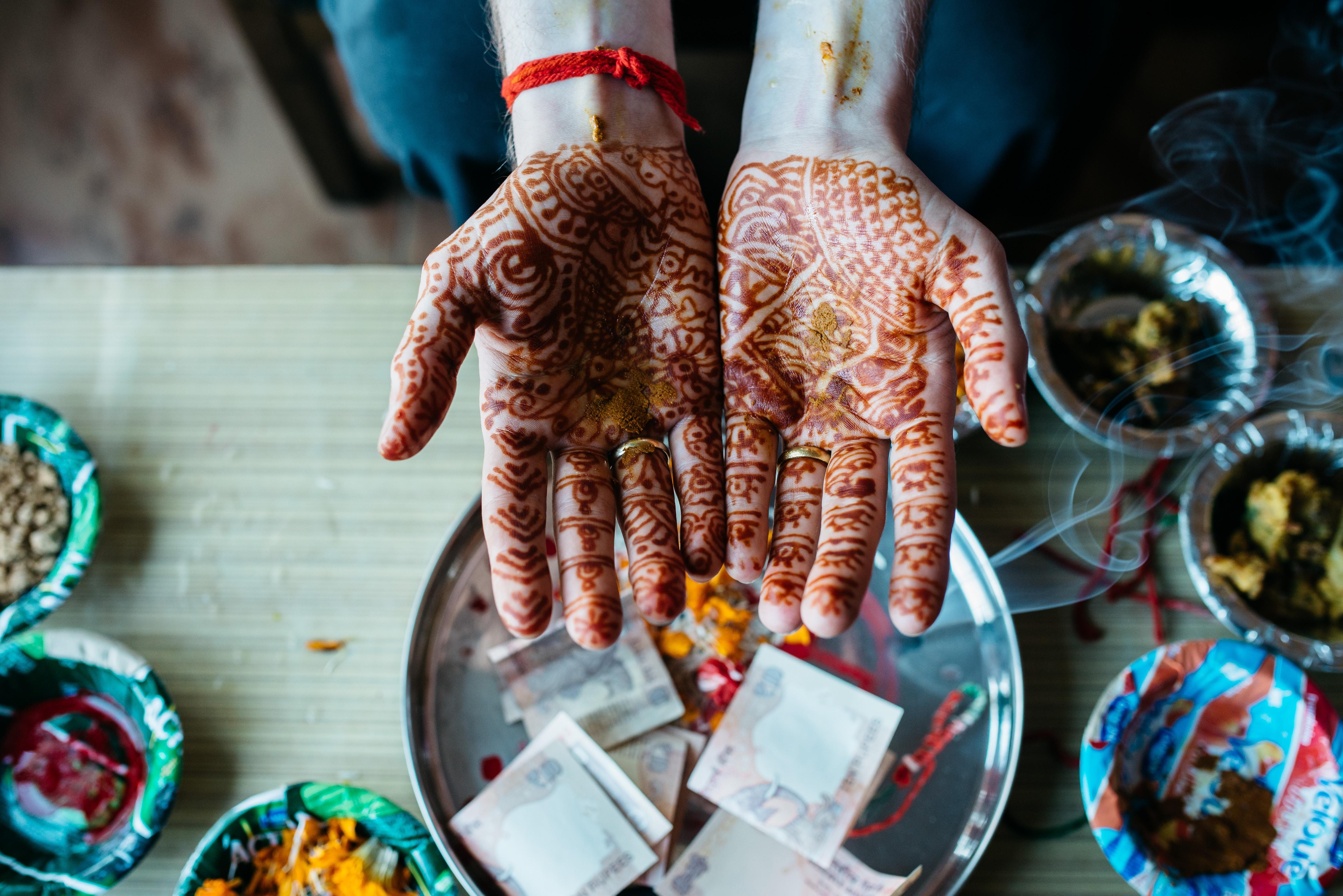 human hand with mehndi tattoo