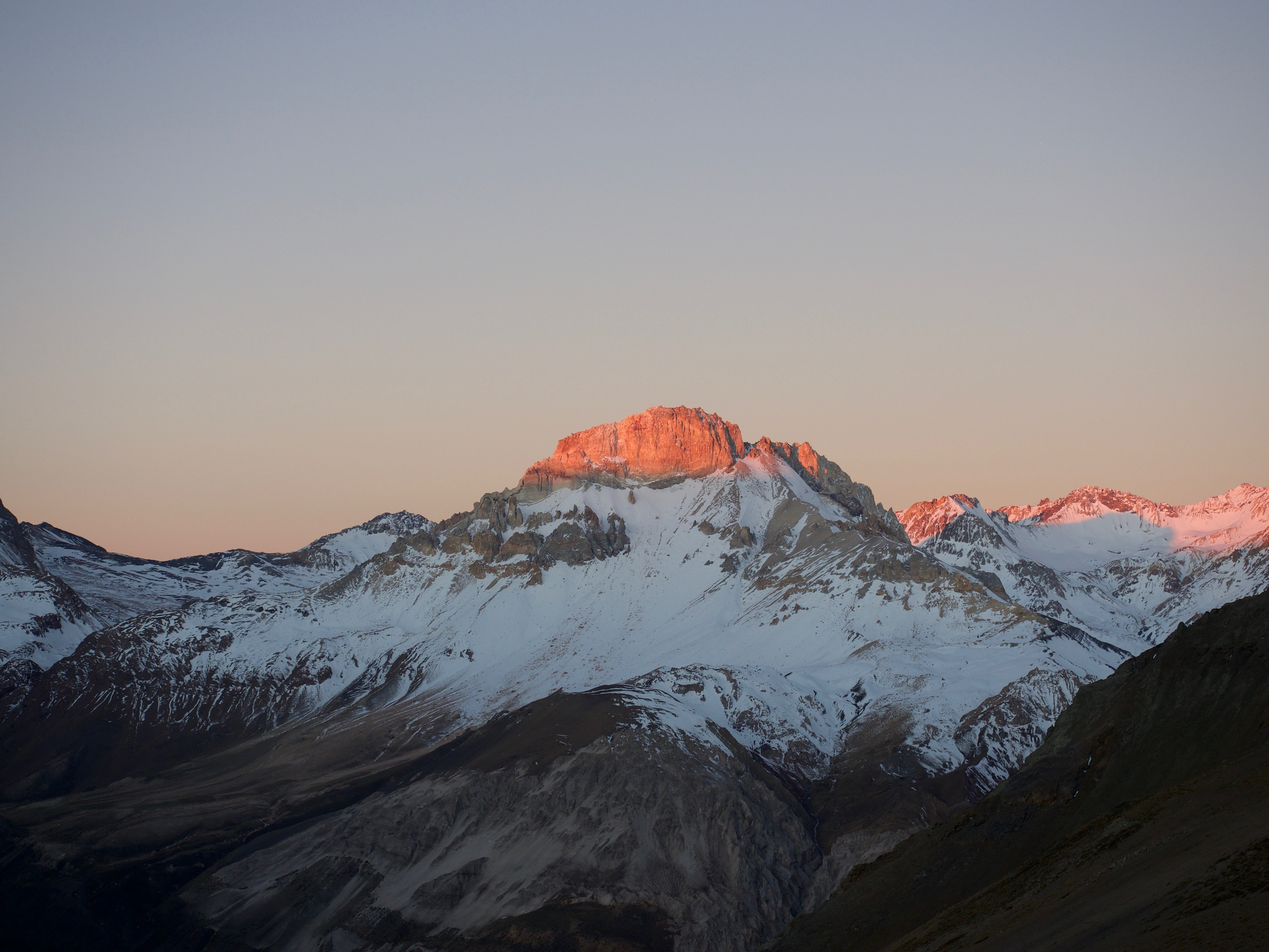 Chile's Cerro Puntiagudo covered in snow in the sunlight
