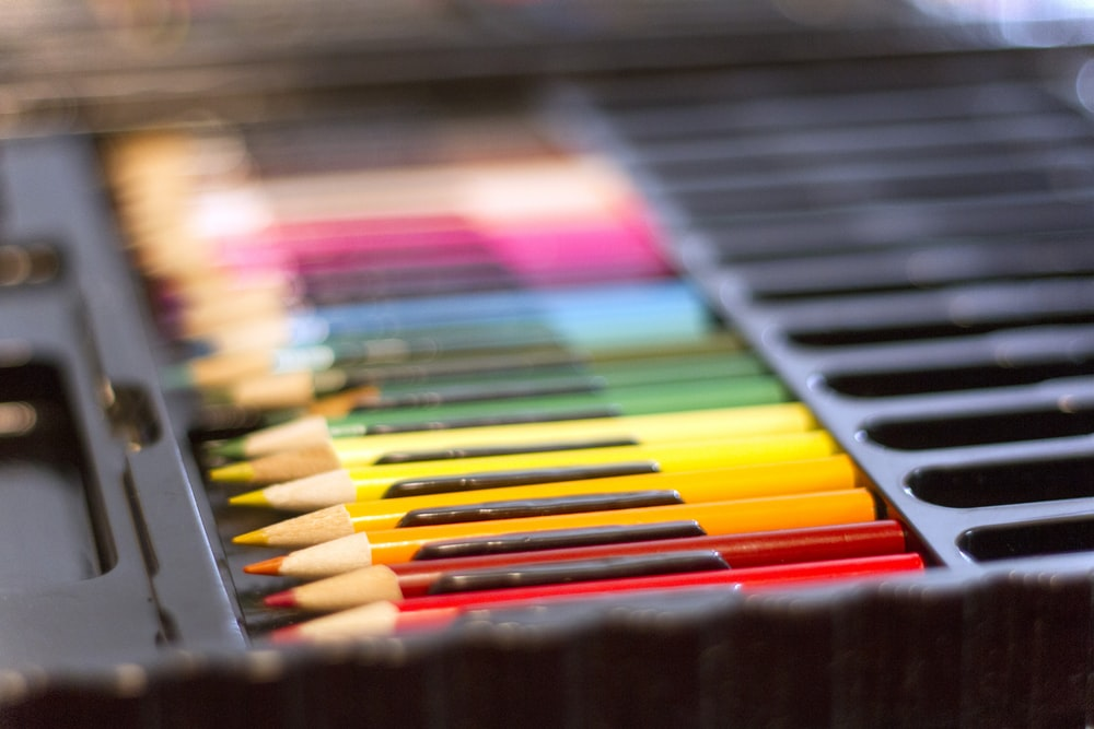 An assortment of colored pencil crayons.
