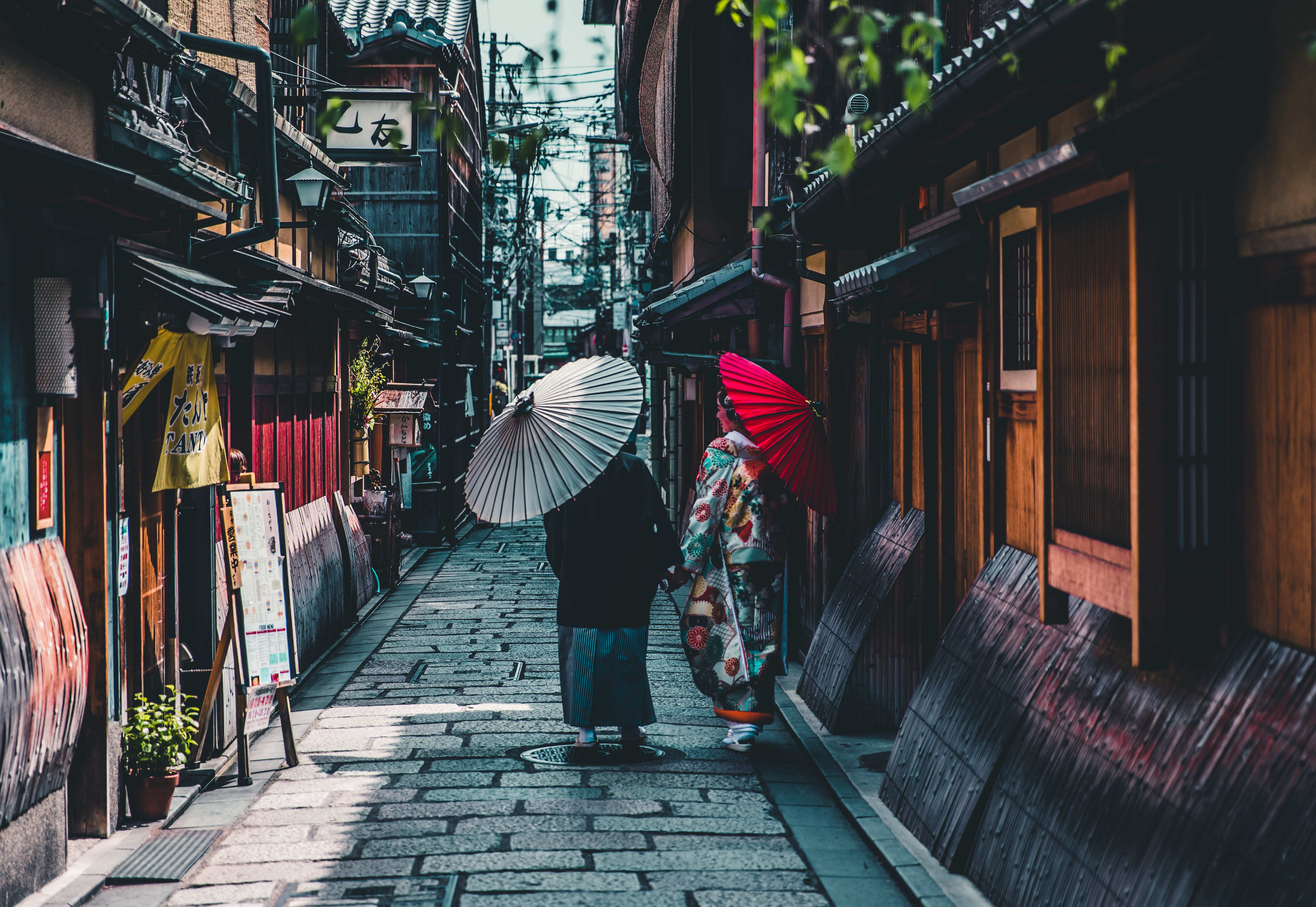 Two women with umbrellas walking down the alley in Kyoto.