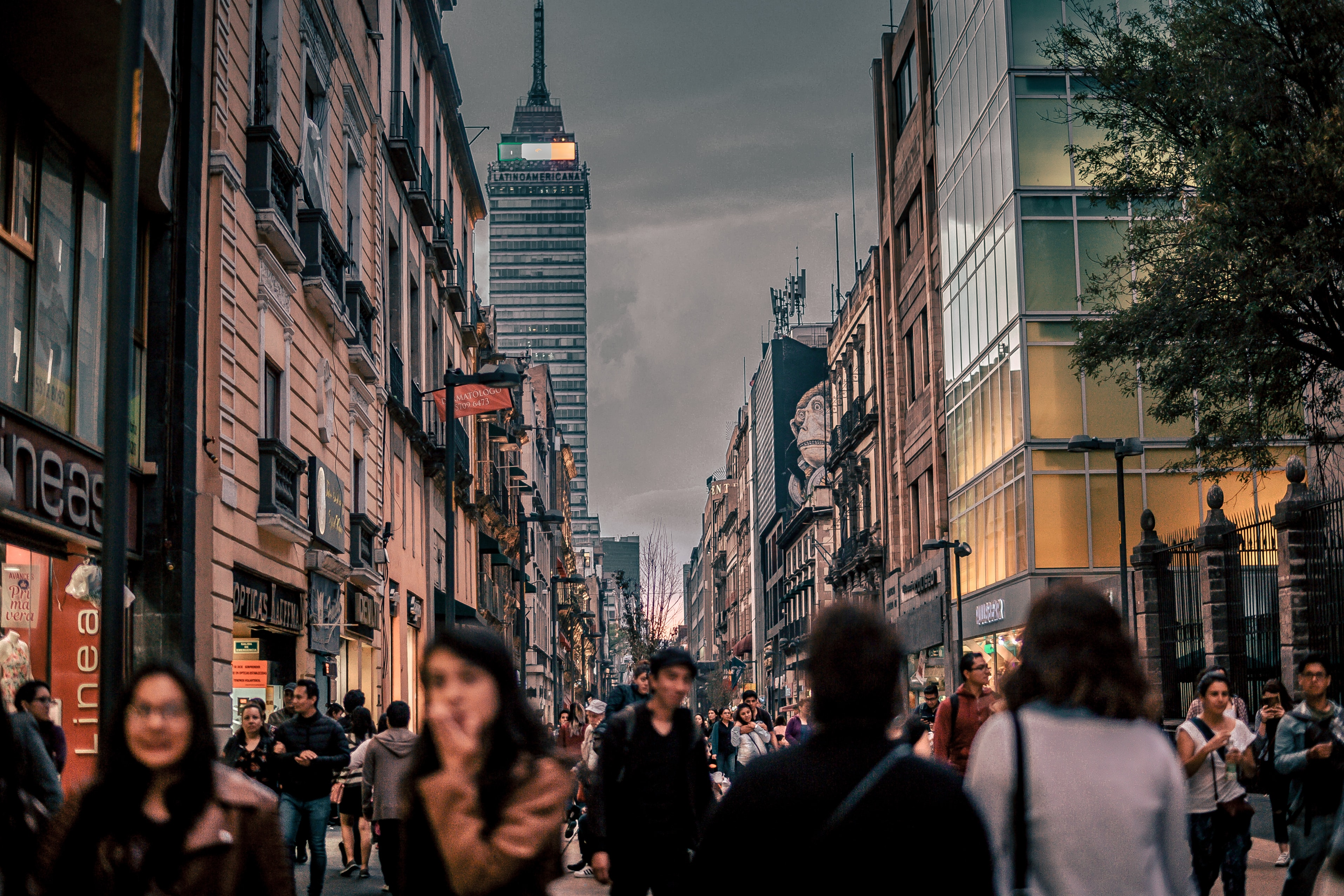 Pedestrians in a shopping street in Mexico City