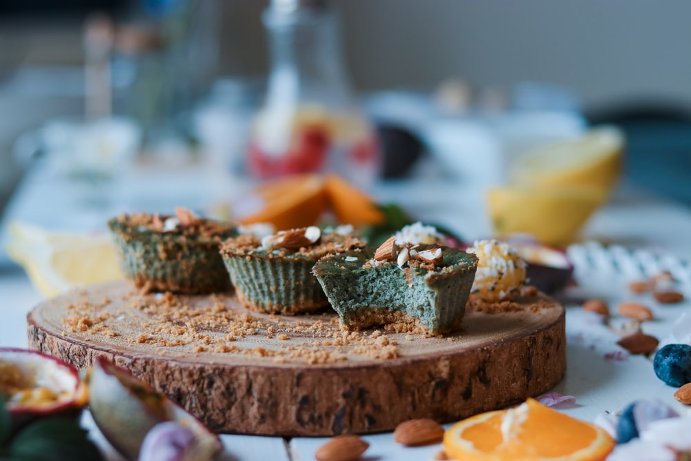 cupcakes on brown wood slab