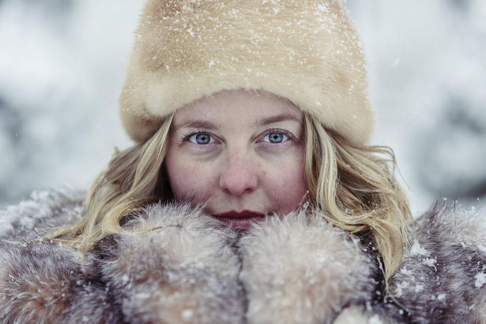 woman in snow outfit