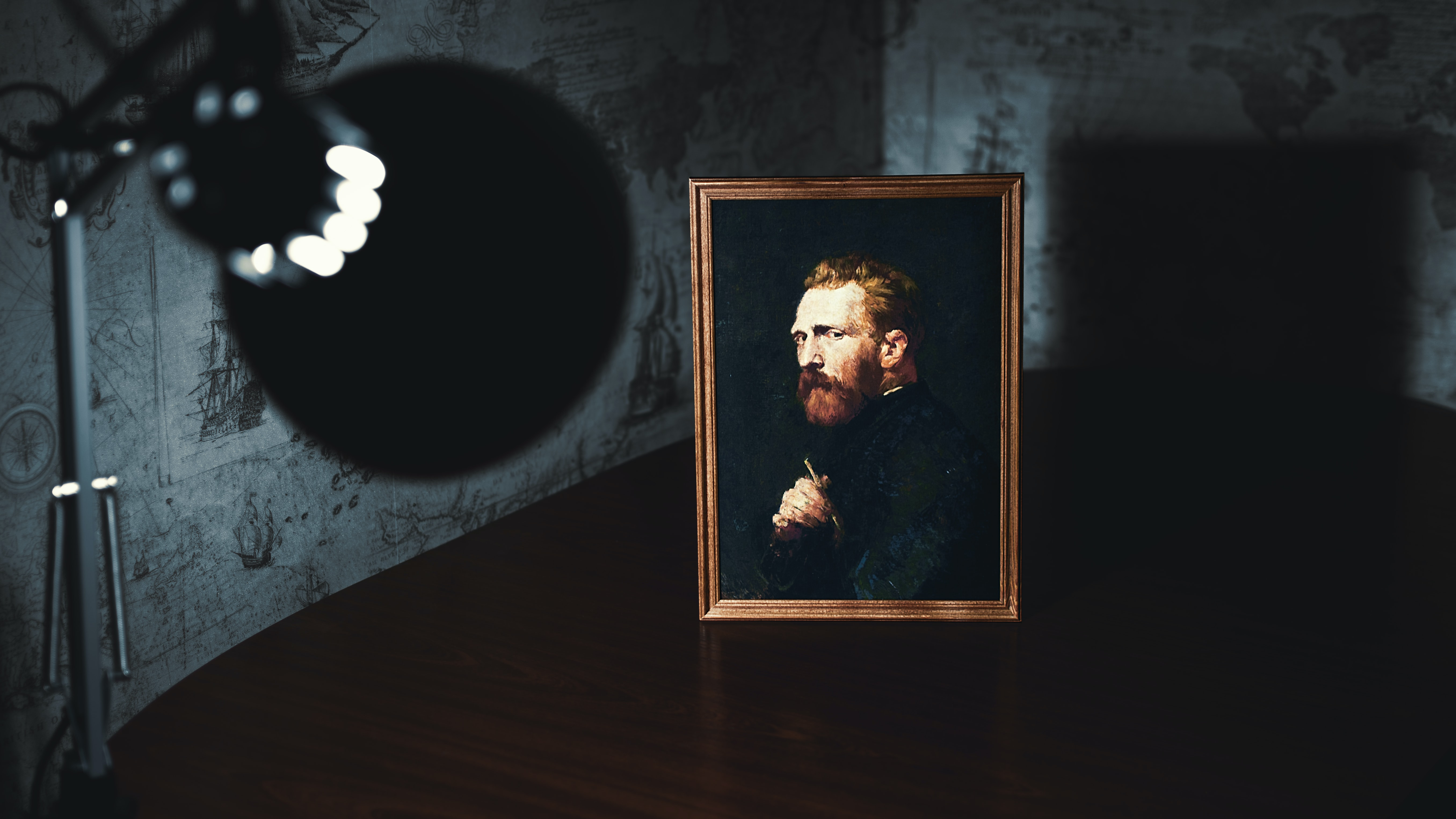 A portrait of Van Gogh on a wooden surface in a dark room