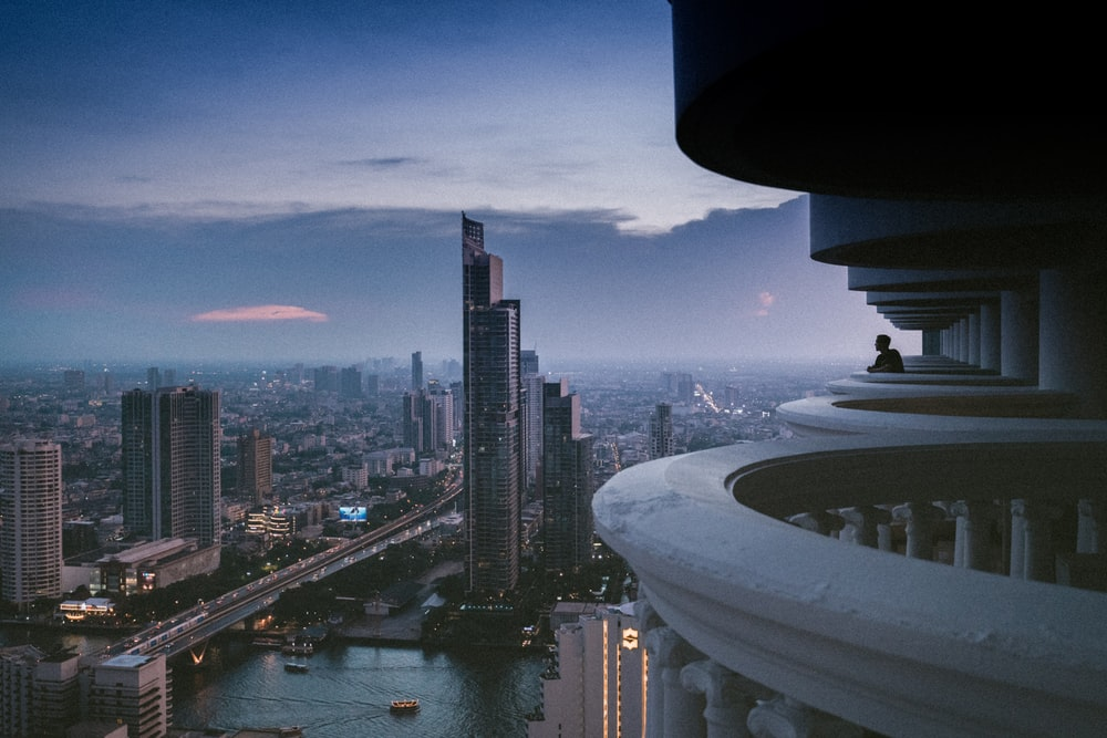 cityscape under dark sky