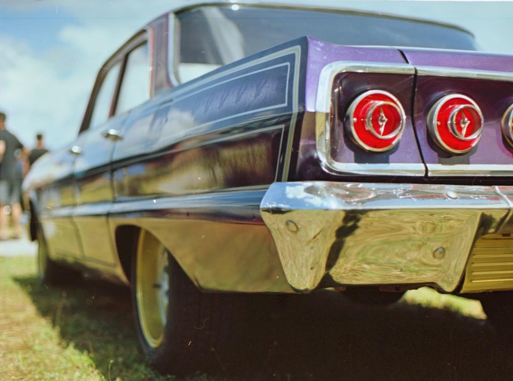 purple muscle car macro shot