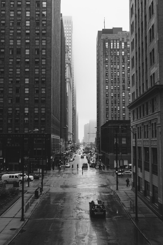 grayscale photo of city street