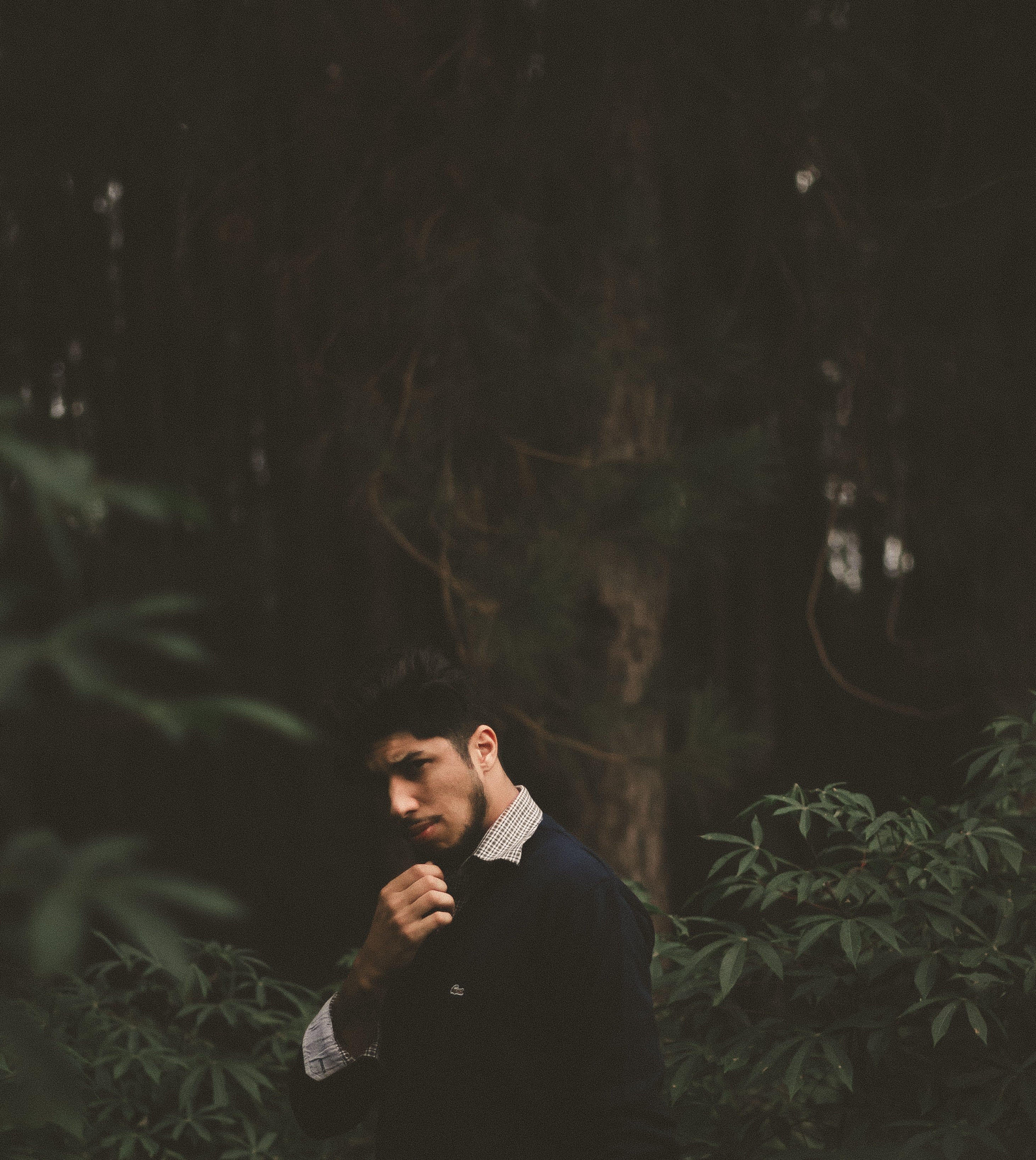 An elegantly dressed man in a forest