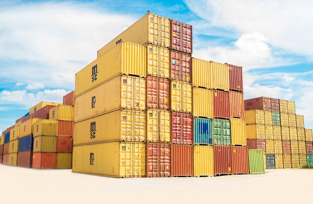 assorted-color filed intermodal containers
