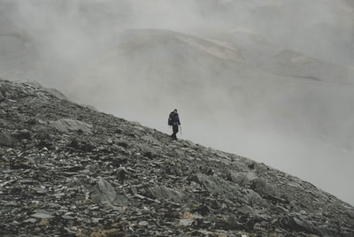 mountaineer climbing down on mountain south island zoom background