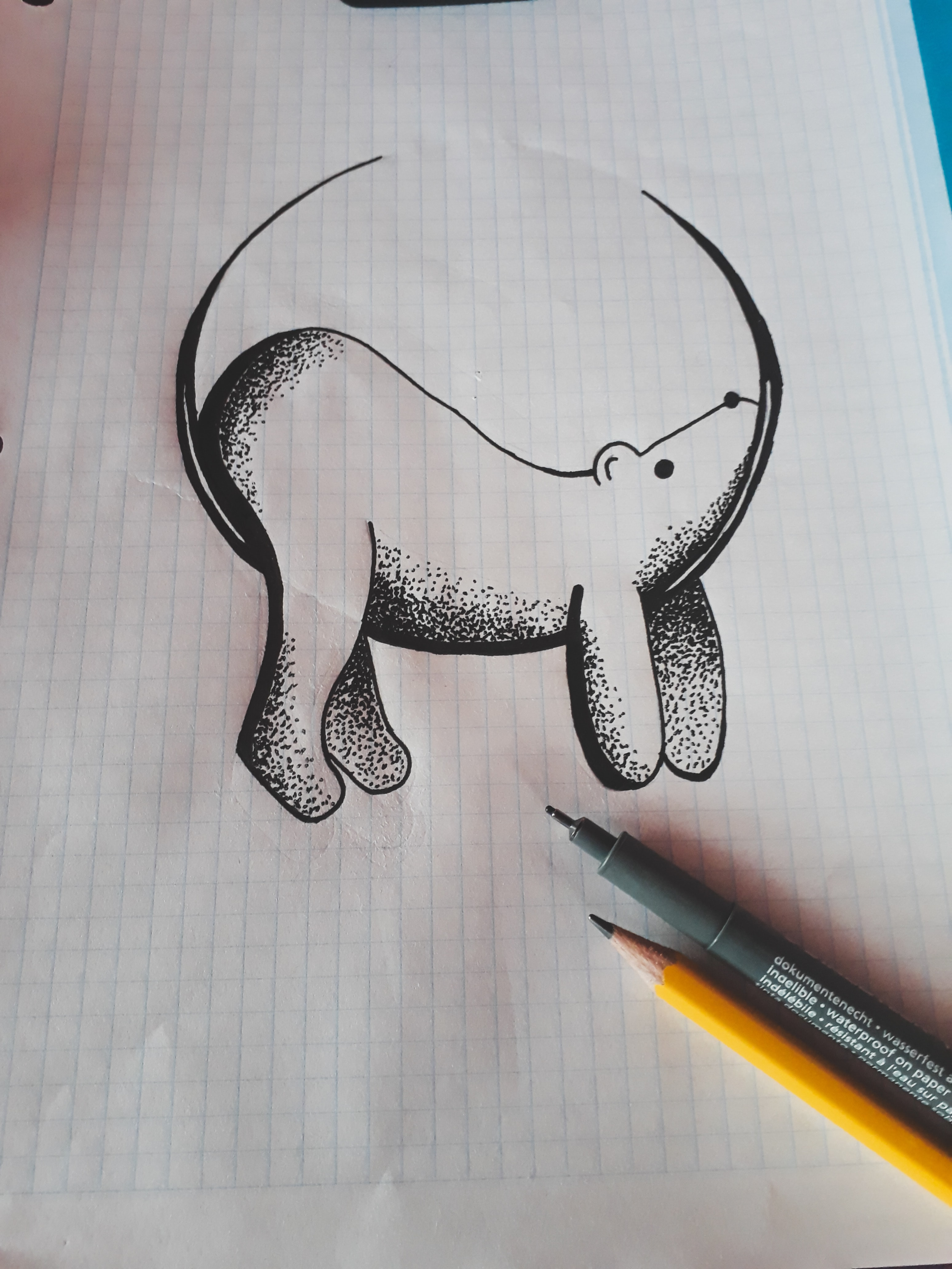 A drawing of a polar bear sitting on a crescent moon.