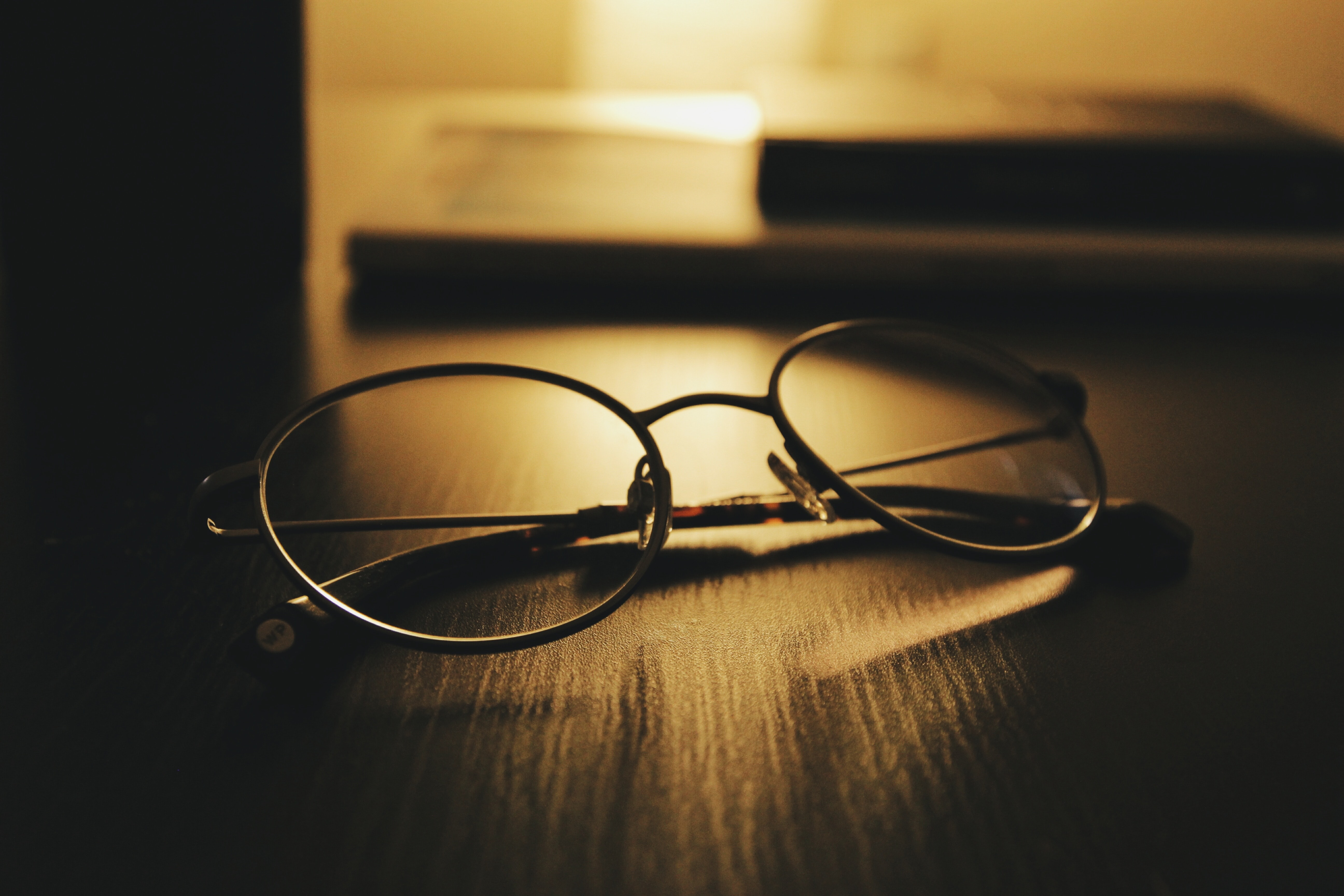 shallow focus of round eyeglasses