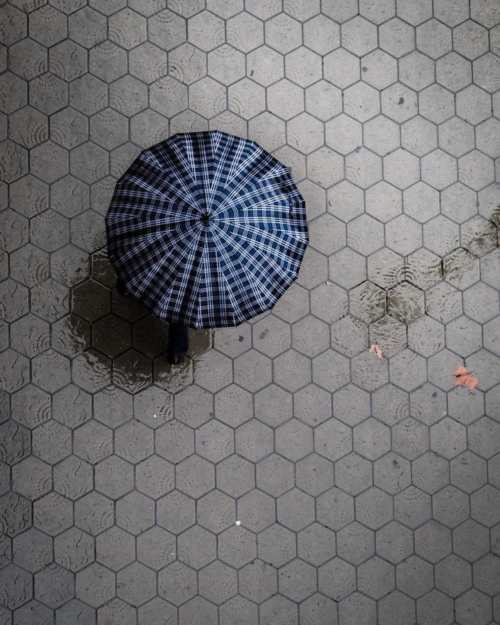 bird's eye view photograph of white and black umbrella on surface