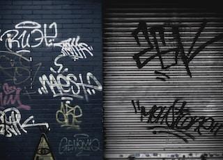 assorted graffiti lot on wall