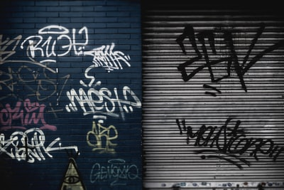 assorted graffiti lot on wall urban zoom background