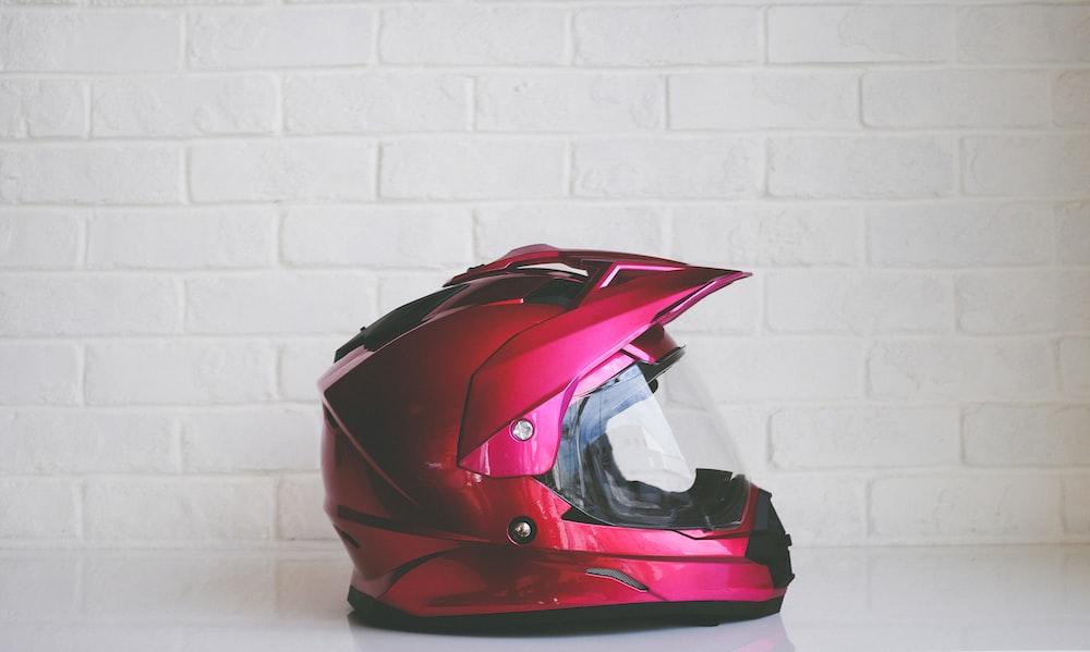 red full-face helmet