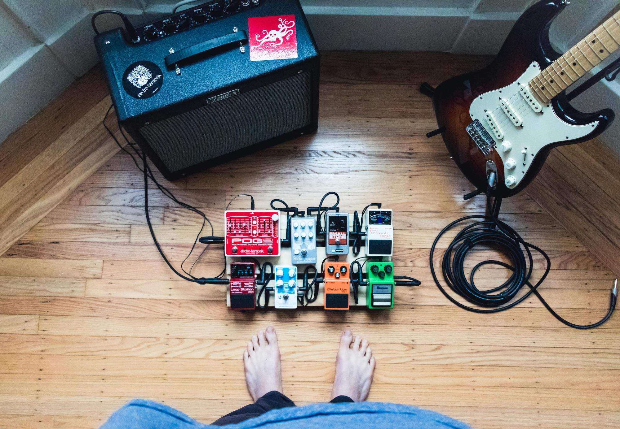 Guitar player gear looking